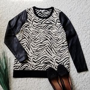 Search for Sanity Zebra Sweater with FauxLeather